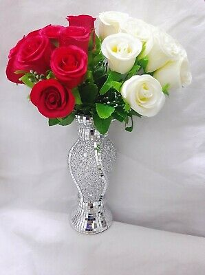 26Cm Home Decor Silver Ceramic Mosaic Bling Sparkle Romany Mirrored Flower Vase • 24.99£