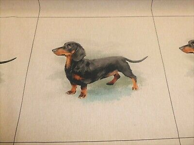 £9.99 • Buy DACHSHUND - Linen Look Cotton Fabric - CUSHION PANELS And By The Metre