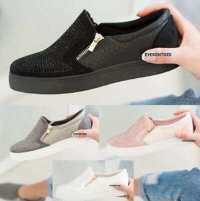 $ CDN19.23 • Buy Ladies Zip Fashion Sport Womens Flat Slip On Studded Shoes Trainers Size 3-8 New