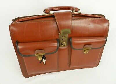 Vintage Cheney England Brown Tan Leather Doctor Purse With Key Satchel Bag J12 • 29.99£