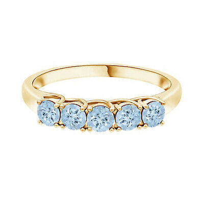 AU365.21 • Buy Half Eternity Band!! 0.5 Ctw Round Aquamarine Stackable Ring In 9K Yellow Gold