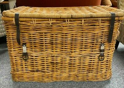 Extra Large Modern Chunky Wicker Basket With Lid & Straps. Interior Storage Box • 255£