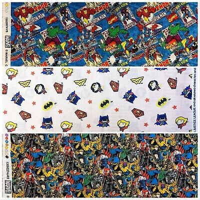 MARVEL & DC SUPERHEROS COMICS FABRIC 100% Cotton Material HULK, IRONMAN, THOR • 12.99£