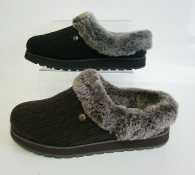 Skechers Bobs 31204 ICE ANGEL Black Or Chocolate Ladies Slippers (GO) • 39£