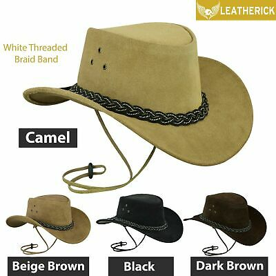Australian Western Style Cowboy Real Leather Bush Hat With Chin Strap - UK Stock • 14.99£