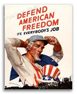 """$6.95 • Buy 1940s """"Defend American Freedom"""" WWII Iconic Uncle Sam War Print - 8.5x11"""