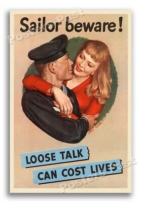 """$11.95 • Buy """"Loose Talk Can Cost Lives"""" 1942 Vintage Style WW2 War Poster - 16x24"""