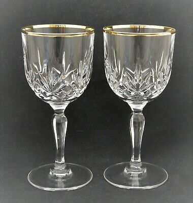 Vintage Pair Of Crystal Glass Wine Goblets Clear Gold • 13.36£