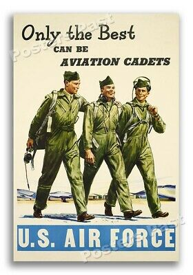 """$8.95 • Buy 1940s """"Only The Best Can Be Aviation Cadets"""" WWII Air Force War Poster - 12x18"""
