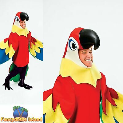 TROPICAL BIRD PIRATE PARROT JUMPSUIT - One Size Ladies Mens Fancy Dress Costume • 42.59£