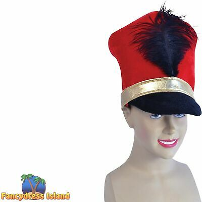 RED QUEEN'S GUARD ROYAL SOLDIER MILITARY HAT Mens Fancy Dress Costume Accessory • 7.89£
