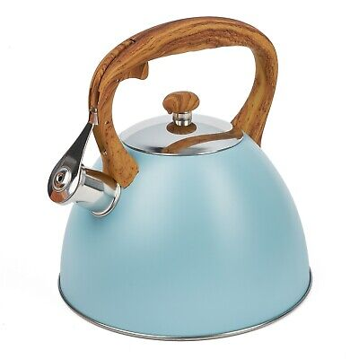 Whistling Kettle 3 L Stainless Steel Stove Top Kettle Blue Induction Gas  • 23.50£