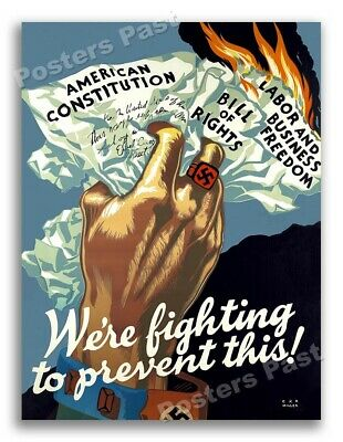 """$15.95 • Buy """"We're Fighting To Prevent This!"""" 1943 Vintage Style WW2 War Poster - 20x28"""