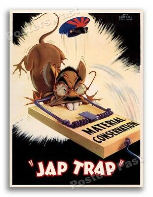 """$15.95 • Buy 1940s """"Japanese Trap - Material Conservation"""" WWII Propaganda War Poster - 20x28"""