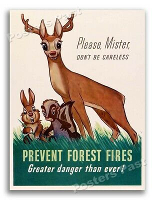 """$6.95 • Buy """"Please Prevent Forest Fires"""" Bambi 1943 Vintage Style WW2 Era Print - 8.5x11"""