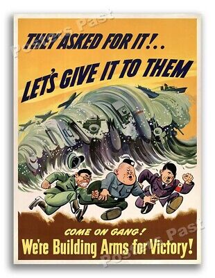 $11.95 • Buy 1942  We're Building Arms For Victory!  Vintage Style WW2 Poster - 18x24