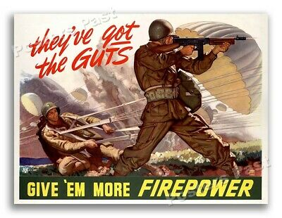 """$8.95 • Buy 1943 """"Give 'Em More Firepower"""" Vintage Style WW2 Paratrooper Poster - 11x14"""
