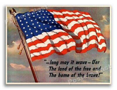 """$11.95 • Buy 1940s """"Long May It Wave"""" WWII Historic War Flag Poster - 18x24"""