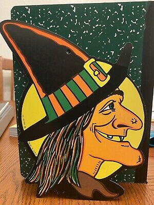 $ CDN17.17 • Buy Vintage Beistle Halloween Witch Double Sided Die Cut Decoration