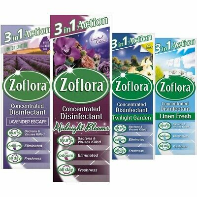 4 X Zoflora Concentrated Disinfectant 120ml - Choice Of Scent - Midnight Blooms • 10.99£