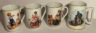 $ CDN30.80 • Buy Vintage 1982-85 Norman Rockwell Museum Coffee Mugs Cups Lot Of 4 White Gold Trim