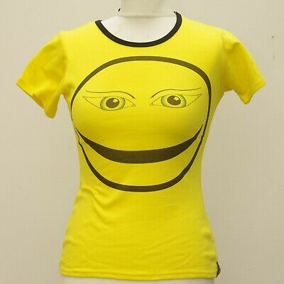 YELLOW GRIN COTTON SHORT SLEEVED T SHIRT GOTH EMO ALTERNATIVE Cyber SIZE 8-14 • 1.99£