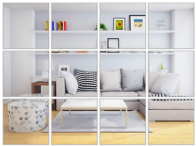 30 Mirror Tiles Diy Plastic Sticky Back Mirror Tiles 6 X6  Bathroom Mirror Tiles • 11£