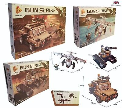 £24.99 • Buy Army Toys Panlos Military Jeep Helicopters Tank  Building Blocks Lego Gifts Box