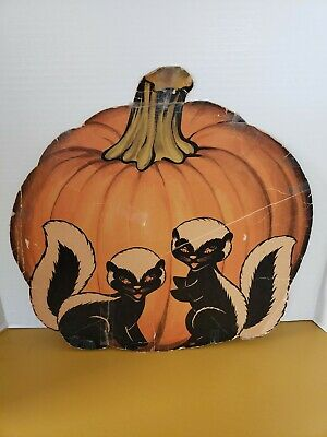 $ CDN25.43 • Buy Original, Vintage 1950's Halloween Pumpkin Die-cut Decoration With Skunks