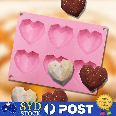AU9.79 • Buy Heart Shape Candy Cake Chocolate Mould 3D Fondant Mold Silicone Sugar Craft DIY