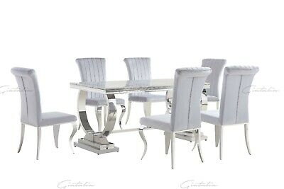 Vienna Grey Marble Chrome Dining Table & Grey Velvet Chrome Louis Chairs Sets • 1,349.99£