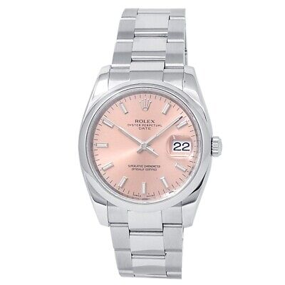 $ CDN7642.57 • Buy Rolex Date Stainless Steel Oyster Automatic Salmon Men's Watch 115200