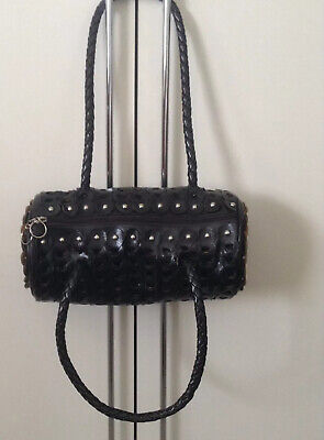 £14.99 • Buy Quirky Cool For S/S2021, Faux Black Leather & Studs Barrel Shoulder Crook Bag