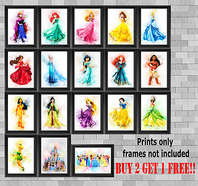Disney Princesses Children's Bedroom Wall Art Poster Print Picture Gift A5 A4 A3 • 3.49£