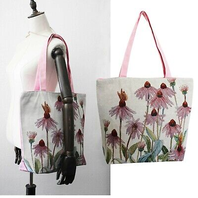 Bag Rosa Tila Canvas Shoulder With Pattern Floral Daisy Large Embroidery Tote • 14.29£