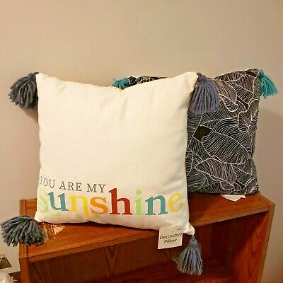 NEW Pillow Set 14 X 14  You Are My Sunshine Throw And Palm Leaves Teal Yellow  • 11.28£