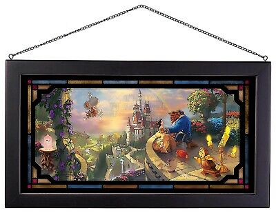 £84.96 • Buy Thomas Kinkade Beauty And The Beast Falling In Love 13 X 23 Framed Stained Glass