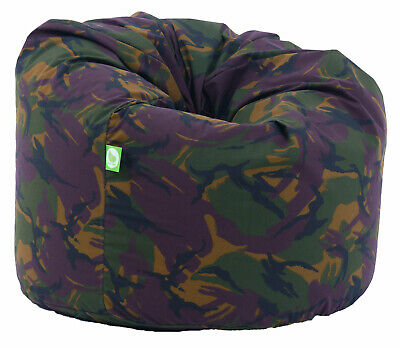 Large Adult Size Army Camo Camouflage Green Bean Bag Gaming Seat With Beans • 24.99£