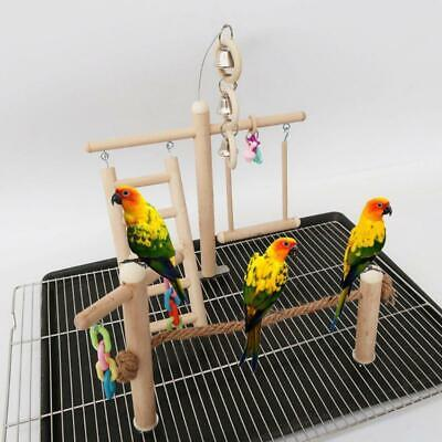 Bird Cage Stand Play Gym Perch Playground Wood Parrot Climbing Ladder Chew Chain • 16.24£