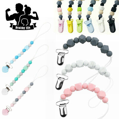 Dummy Clips Baby Soother Chain Holder Strap Pacifier Modern Design Teething Gift • 3.99£