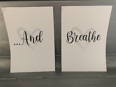 Home Wall Art Set Of 2 Typography Prints - Inhale Exhale - Daily Affirmations A4 • 4.99£