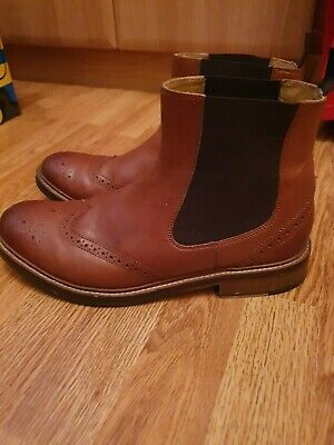 Mens PAVERS Leather TAN Chelsea Boots SIZE 9 • 25£