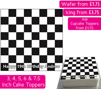 £3.75 • Buy Checkered Pattern Square Edible Wafer & Icing Personalised Cake Toppers Chess