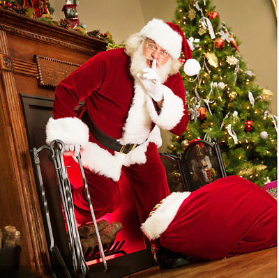 £35.49 • Buy Santa Claus Father Christmas Costume Adult Velvet Leather Suit Mens Dress Outfit