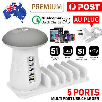 AU24.95 • Buy 5 Multi Port USB Charger Mushroom Lamp Charging Station Dock For Iphone IPad OZ