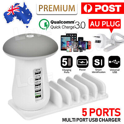AU25.85 • Buy Multi Port USB Charger Mushroom Lamp Charging Station Dock For Iphone IPad OZ