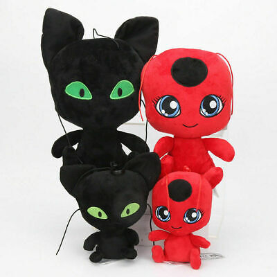 15/24/30cm Miraculous Ladybug Soft Toy Plush Doll Cat Plagg Tikki Stuffed Toy UK • 11.99£