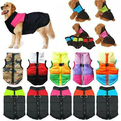 UK Waterproof Pet Dog Clothes Autumn Winter Warm Padded Coat Vest Jacket Apparel • 8.29£