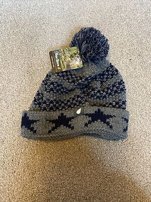 Boys Peter Storm Bobble Hat Grey Blue New • 3£