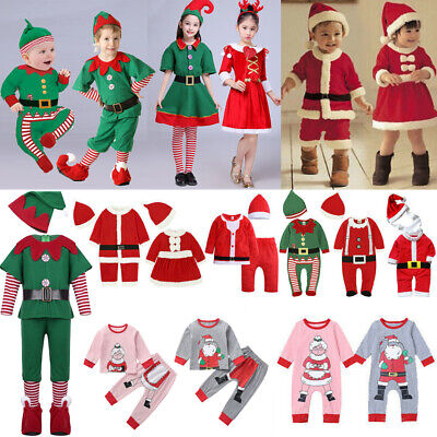 Boy Girl Christmas Xmas Fancy Dress Costume Santa Claus Elf Clothes Outfit Prom • 9.99£